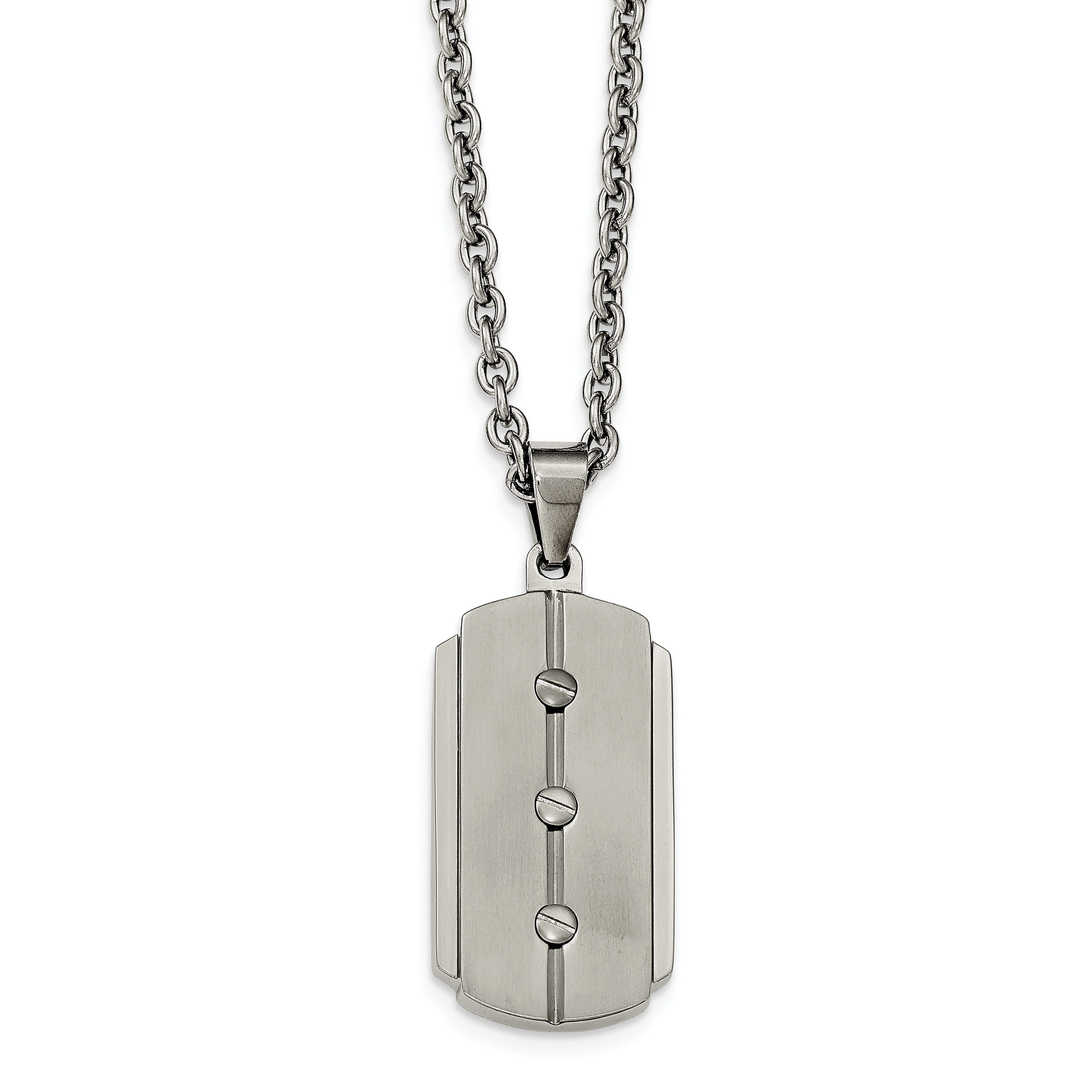 Jewelry Necklaces Necklace with Pendants Stainless Steel Brushed and Polished Dog Tag Necklace