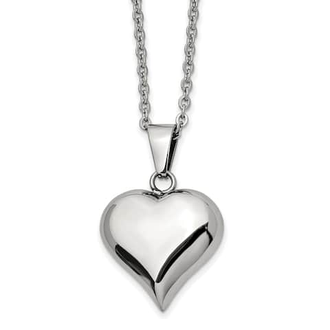 Chisel Stainless Steel Polished Puffed Heart 20-inch Necklace