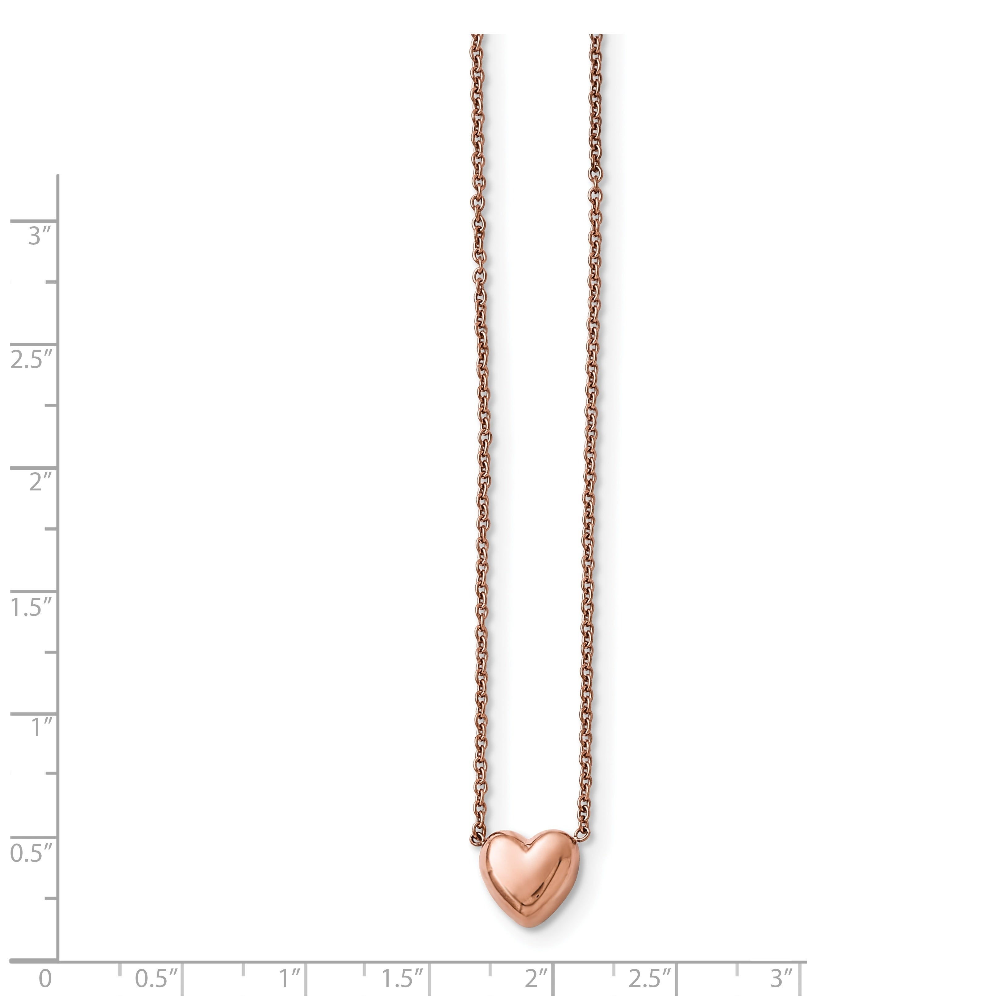 Stainless Steel Rose IP-Plated Fancy Lobster Closure Polished Pink IP-Plated Twisted Heart Necklace 18 Inch