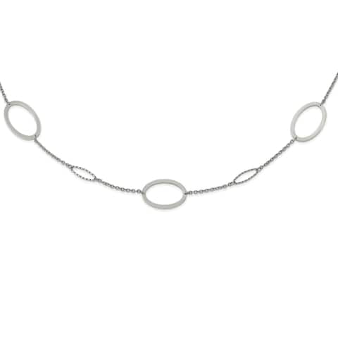 Chisel Stainless Steel Polished 38-inch Fancy Oval Link Necklace
