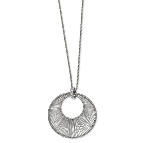 Chisel Stainless Steel Polished Wire Circle with 2-inch Extension Necklace