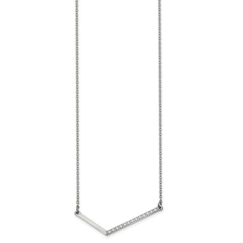 Chisel Stainless Steel Polished with CZ Angled Bar 17.5-inch Necklace