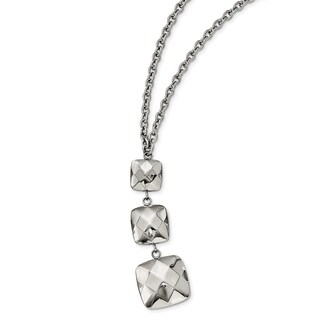 Chisel Stainless Steel Polished Hollow Squares Dangle Necklace - china