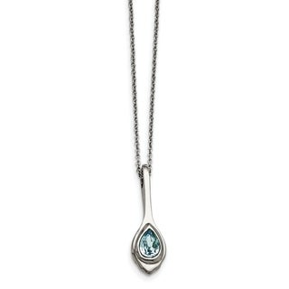 Chisel Stainless Steel Blue Glass Teardrop with 2-inch Extension Necklace - china