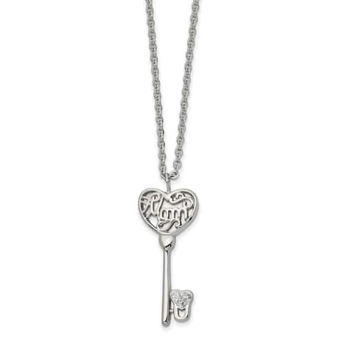 Chisel Stainless Steel Polished with Crystal Mom Key 20-inch Necklace