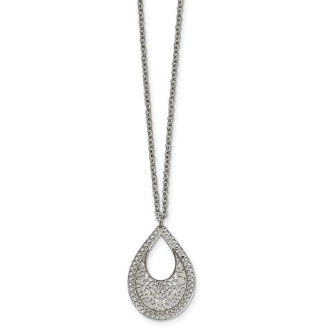 Chisel Stainless Steel Polished Textured Cut-out Design Necklace