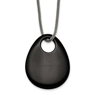 Chisel Stainless Steel Black Onyx Large Teardrop Polished Necklace