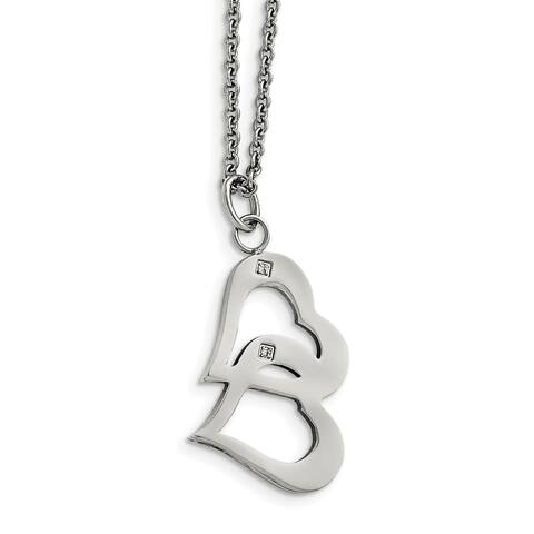 Chisel Stainless Steel Polished Hearts and CZs with 2-inch Extension Necklace