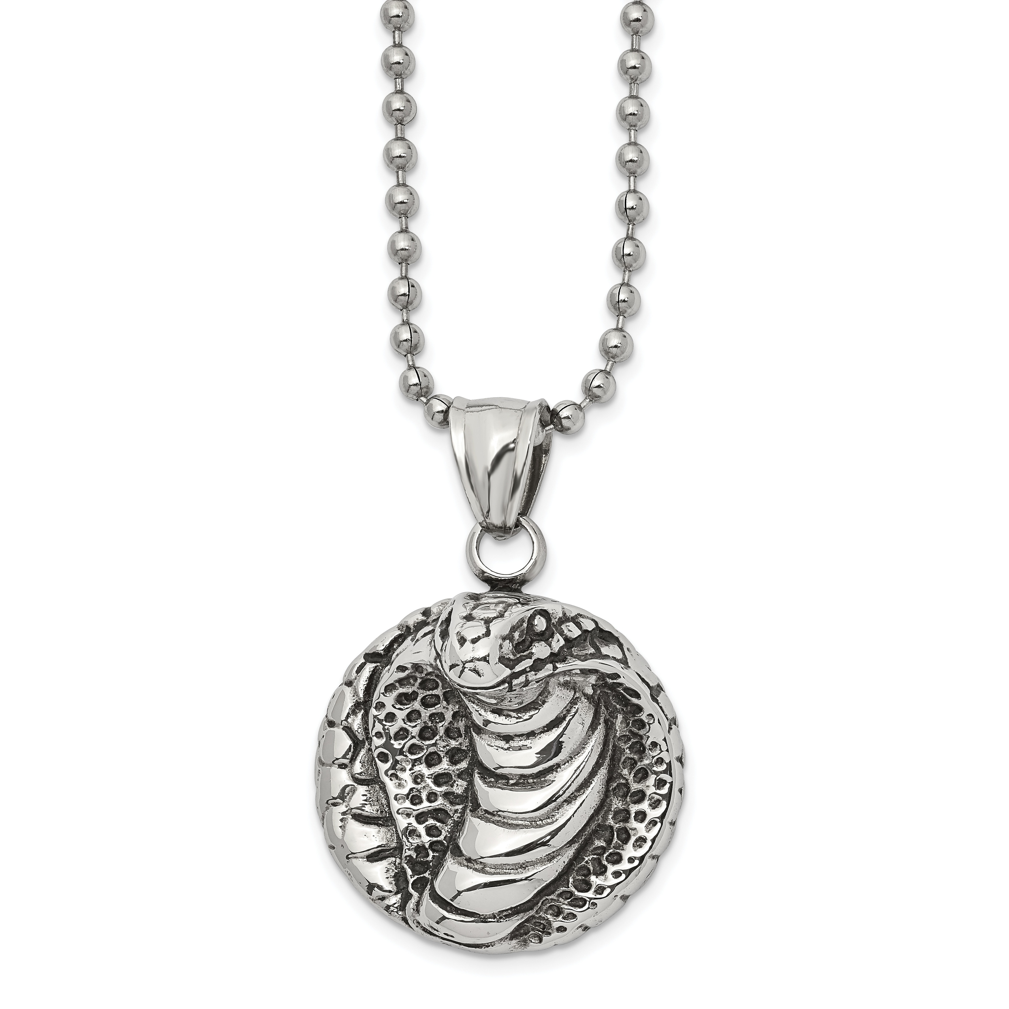 Stainless Steel Antiqued Fancy Claw Pendant Necklace