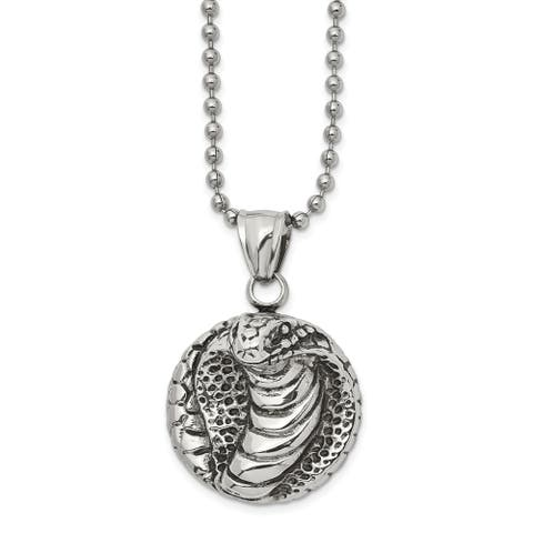 Chisel Stainless Steel Antiqued and Polished Cobra 22-inch Necklace