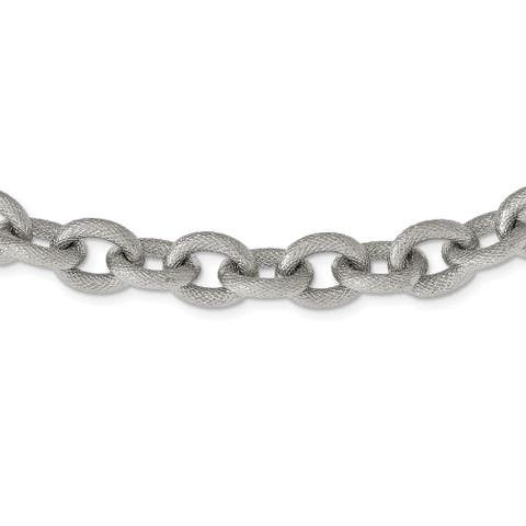 Chisel Stainless Steel Polished and Textured Link 16.5-inch Necklace