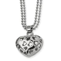 Chisel Stainless Steel Puffed Heart with Heart Cutouts 22-inch Necklace - china