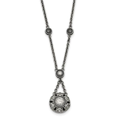 Chisel Stainless Steel Polished and Antiqued CZ with 2-inch Extension Necklace