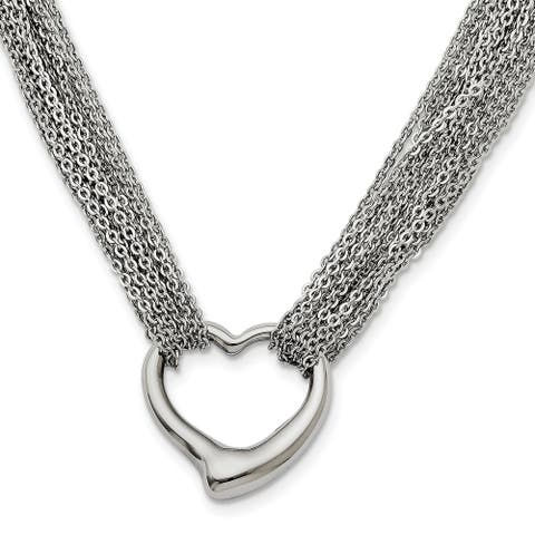 Chisel Stainless Steel Multi Strand Polished Heart Toggle Necklace