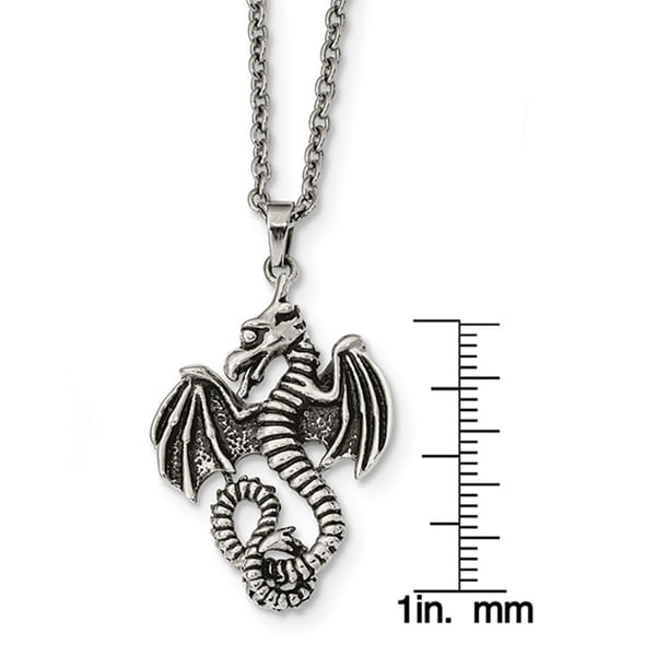 Stainless Steel Polished Fancy Lobster Closure Dragon Necklace 22 Inch