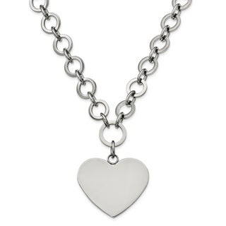 Chisel Stainless Steel Polished Large Heart With 1 75 Inch Extension Necklace