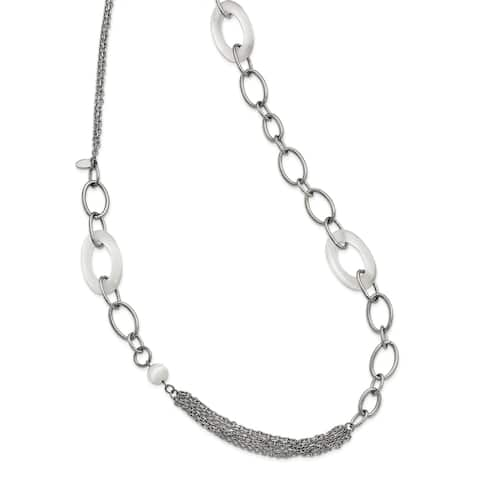 Chisel Stainless Steel Polished with White Cat's Eye Slip-On Necklace