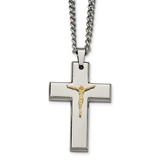 Stainless Steel Polished Yellow IP Plated Crucifix Necklace China