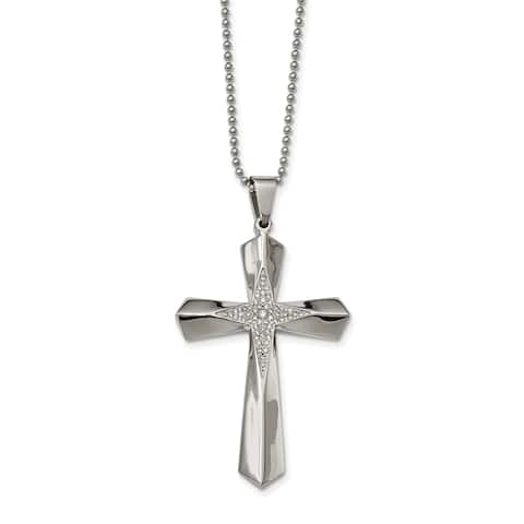 Chisel Stainless Steel Polished CZ Cross Necklace