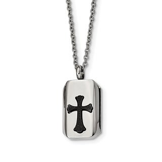 Chisel Stainless Steel Polished Black IP Plated Laser Cut Cross 22 Inch Necklace
