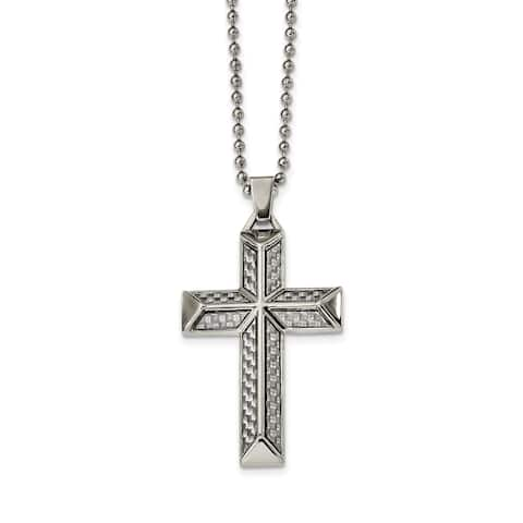 Chisel Stainless Steel Polished with Carbon Fiber Inlay Cross Necklace