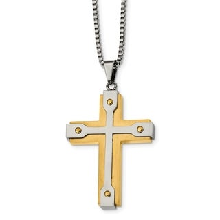 Chisel Stainless Steel Brushed And Polished Yellow IP Plated Cross Necklace