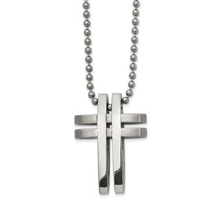 Chisel Stainless Steel Brushed and Polished 22-inch Cross Necklace - china