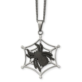Chisel Stainless Steel Black IP Plated Spider And Polished Web Necklace