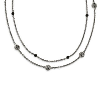 Chisel Stainless Steel Polished Black Onyx with 2-inch Extension Layered Necklace - china