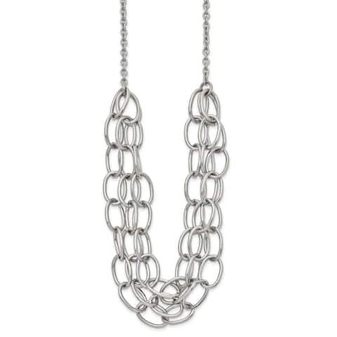 Chisel Stainless Steel Polished 20.5-inch with 1.75-inch Extension Multi Chain Necklace