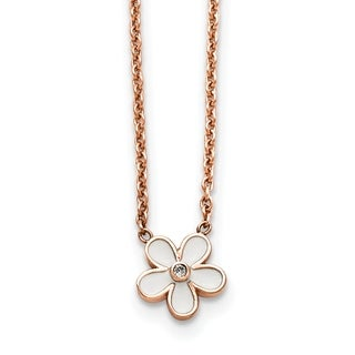 Chisel Stainless Steel Polished Pink IP-plated and Enameled Flower with CZ Necklace - china
