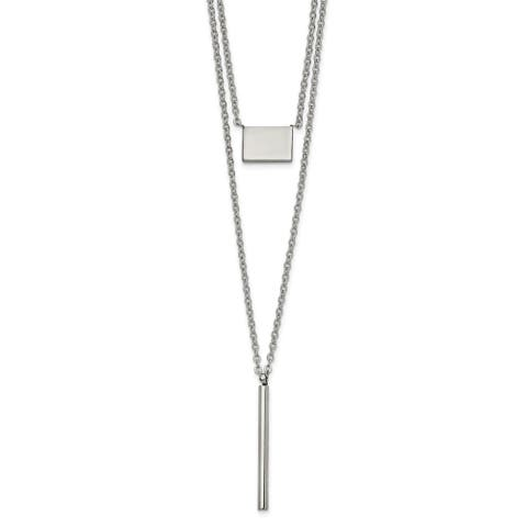 Chisel Stainless Steel Polished Multi Chain 16.5-inch with 2-inch Extension Necklace