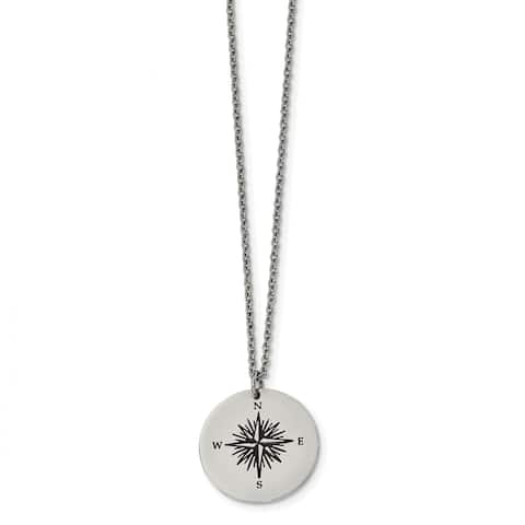 Chisel Stainless Steel Polished Enamel THOSE WHO WANDER Compass Necklace