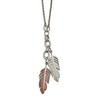 Chisel Stainless Steel Polished Brown IP-plated Feather Slip-on Necklace - china