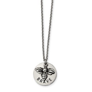 Chisel Stainless Steel Polished and Enameled Bumble Bee BRAVE 22-inch Necklace - china