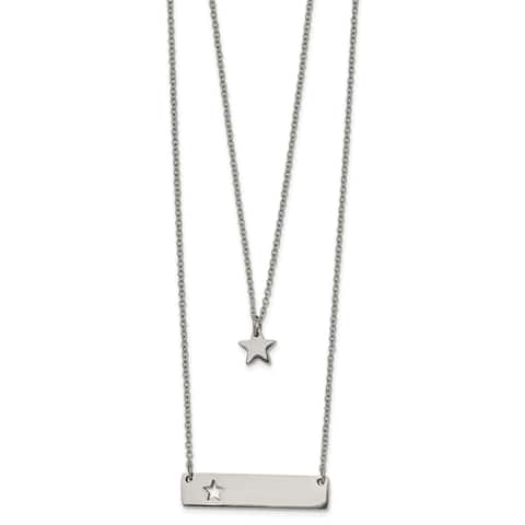 Chisel Stainless Steel Polished Star and Bar Multi Strand 1.5-inch Extension Necklace
