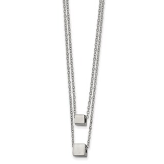 Chisel Stainless Steel Polished Two Strand 17 Inch With 2 Inch Extension Necklace