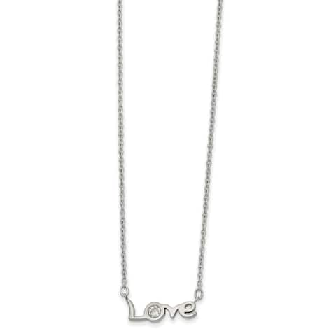Chisel Stainless Steel Polished with CZ LOVE with 1-inch Extension 17.5-inch Necklace