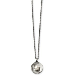 Chisel Stainless Steel Polished CZ And Freshwater Cultured Pearl Necklace