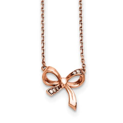 Chisel Stainless Steel Polished Pink IP plated CZ Bow with 1.75-inch Extension Necklace