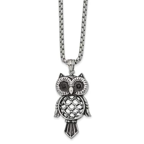 Chisel Stainless Steel Antiqued and Polished with Black CZ Owl 24-inch Necklace