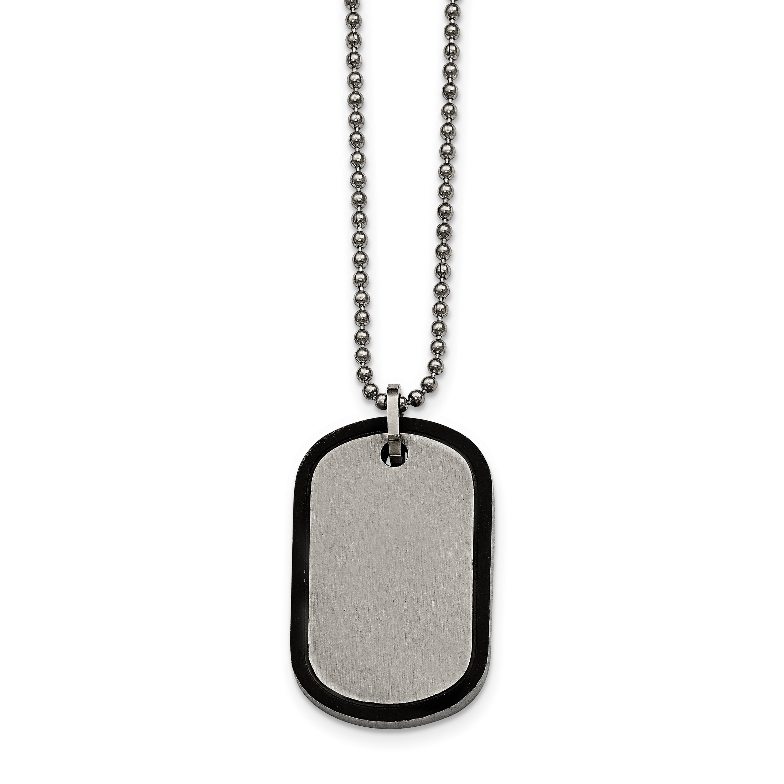 Jewelry Necklaces Necklace with Pendants Stainless Steel Brushed and Laser Cut Black IP Double Dogtag Necklace