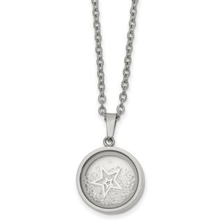 Chisel Stainless Steel Crystal Black Rim Floating Star 2 Inch Extension 16 Inch Necklace