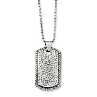Chisel Stainless Steel Textured Polished Dog Tag Necklace