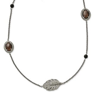 Chisel Stainless Steel Polished Smoky Quartz/Black Onyx with 2-inch Extension Necklace - china