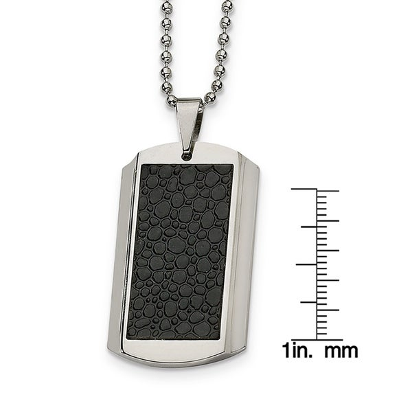"""Chisel Stainless Steel Black Rubber Fancy Circles Pendant Necklace 22/"""""""
