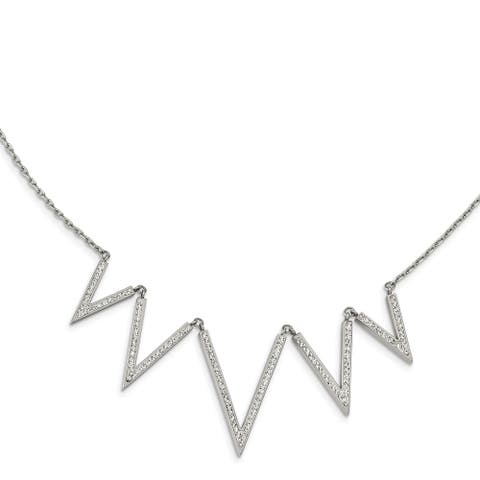 Chisel Stainless Steel Polished with Preciosa Crystal V Shape with 1.25-inch Extension Necklace