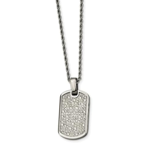 Chisel Stainless Steel Fancy Cubic Zirconia Dog Tag Pendant Necklace