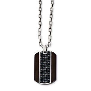 Chisel Stainless Steel Brushed And Polished Black IP Plated Blue Carbon Inlay Necklace