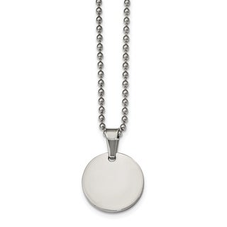 Chisel Stainless Steel Brushed And Polished Round 2mm Dog Tag Necklace